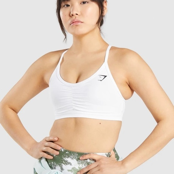 Gymshark Ruched Training Sports Bra - White